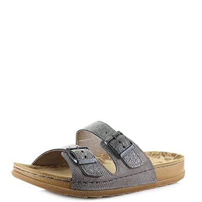 d94ee397f0b0 INBLU Womens UA-29 Gunmetal Metallic Twin Strap Comfort Glitter Sandals  Size 5