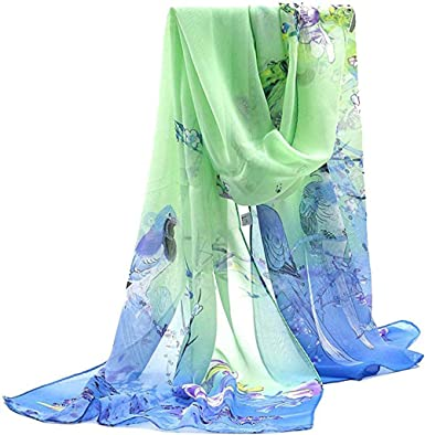 Ladies scarves patterned silky shawl casual chiffon womens scarf