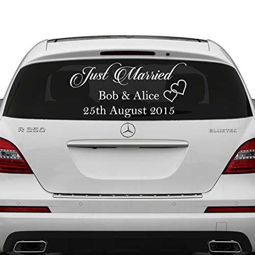 (70x35 cm) Just Married Custom Personalized Vinyl Decal / Write Your Names & Date Sticker / Wedding Day Car Back Window Mirror + Free Random Decal Gift