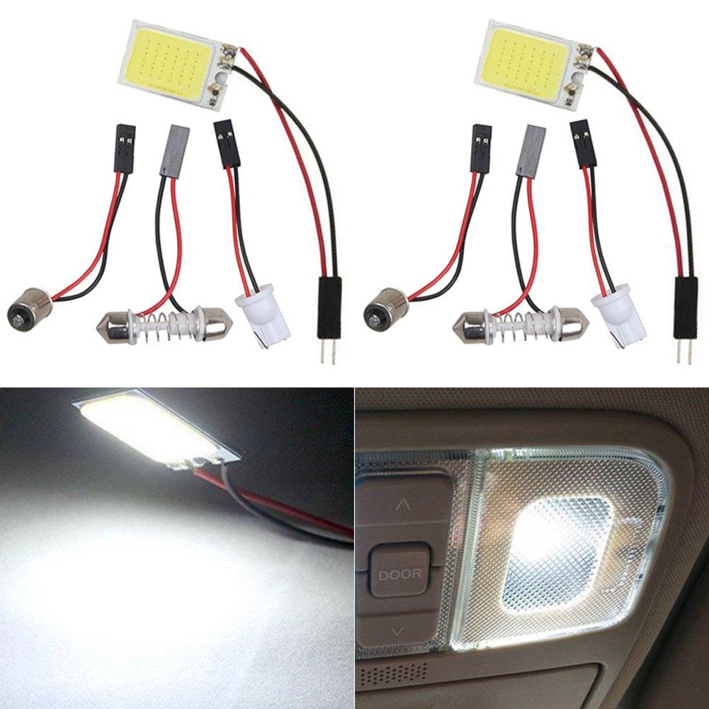 Taben 2-pack super White 3TH Generation a risparmio energetico LED COB 36-smd panel Dome Light auto Car interior lettura piastra plafoniera da soffitto lampada interna con t10//BA9S//festone adattatori