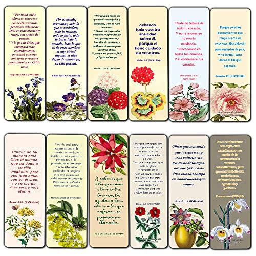 Spanish Flower Bookmarks KJV Scriptures Series 1 (30 Pack) - Handy Reminder About Develop Trust in God Spanish Bible]()