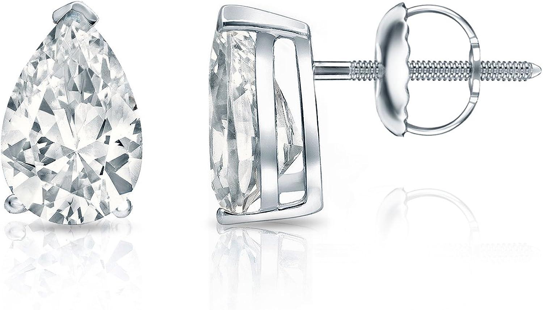 1//2ct, Excellent Quality 14k White Gold Pear Diamond SIMULANT CZ Men Stud Earrings V-End Prong