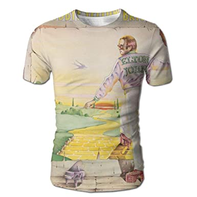 b5578e48 Amazon.com: JohnHA Men's Elton John Goodbye Yellow Brick Road Fashion 3D  Printed Short Sleeve Tshirt: Clothing