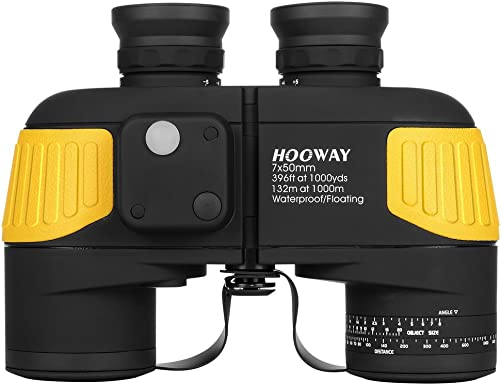Hooway 7×50 Waterproof Fogproof Military Marine Binoculars w Internal Rangefinder Compass for Navigation,Boating,Fishing,Water Sports,Hunting and More