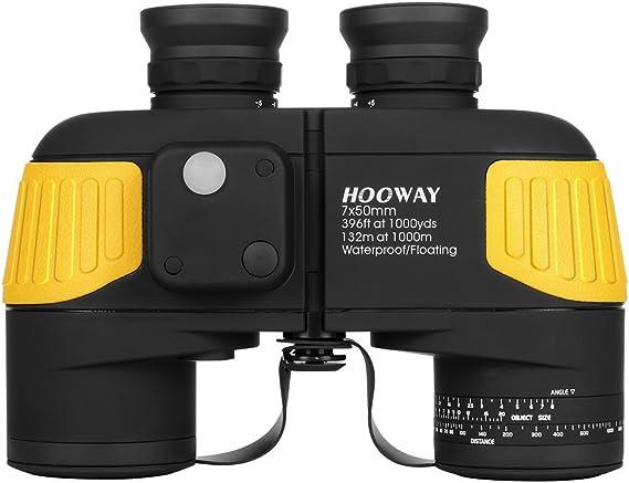 Hooway 7x50 Waterproof Fogproof Military Marine Binoculars w/Internal Rangefinder & Compass for Navigation