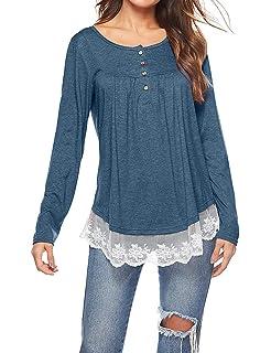 T.Mullen Femme Dentelle Tunique Manches Longues Tops Blouses T Shirt adb1767b647
