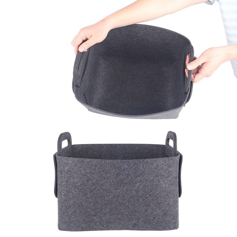 ANGTUO feutre Bo/îte de rangement multi-fonction pliable Panier portable