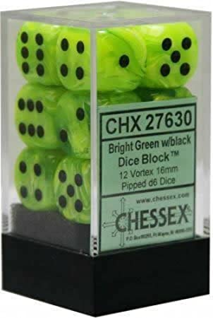 Chessex Dice d6 Sets: Vortex Bright Green with Black - 16mm Six Sided Die (12) Block of Dice