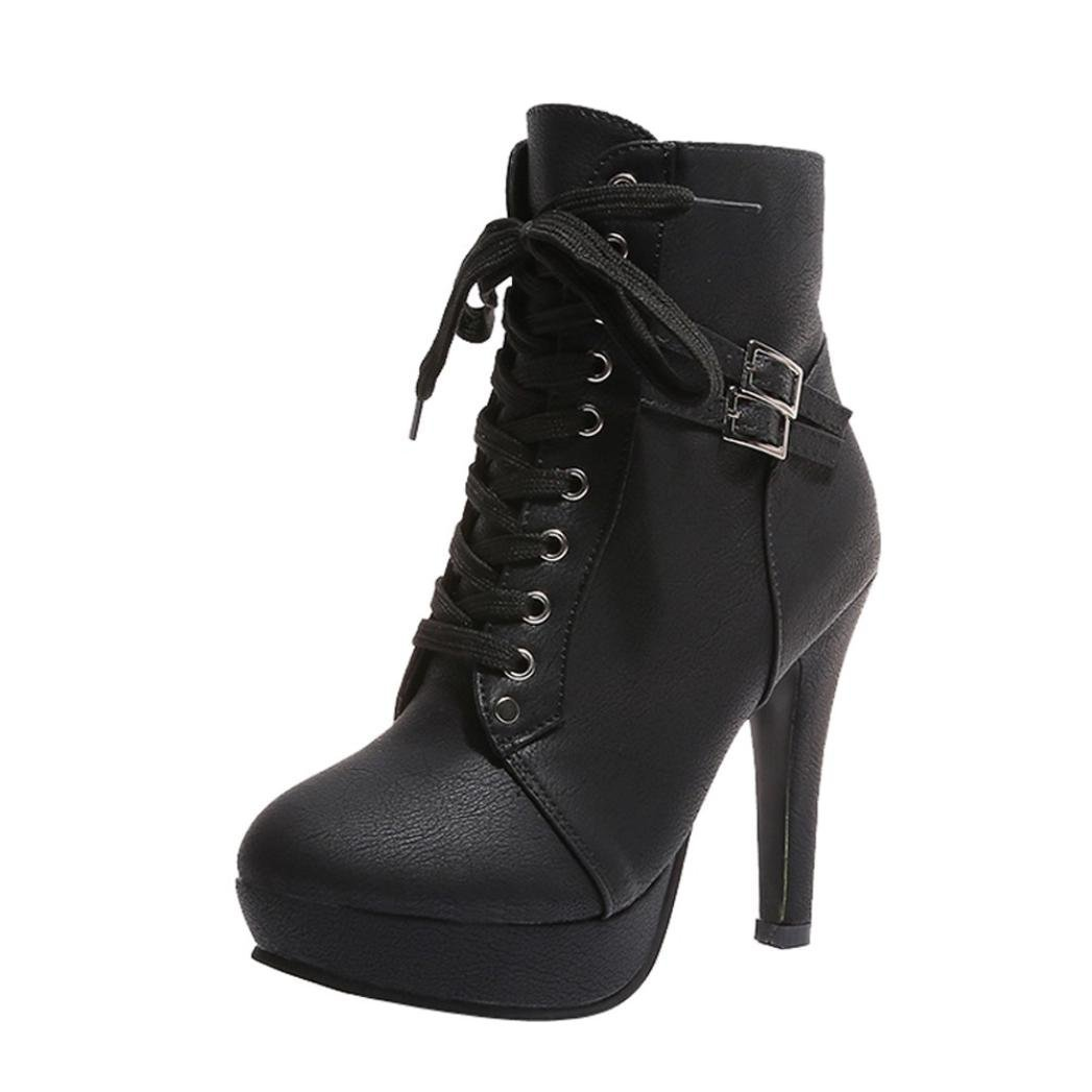 2018 Womens Girls Ankle Bootie 5.5-9.5,Leather Wedges High Heel Lace-up Round Toe Boots (Black, US:9.5)