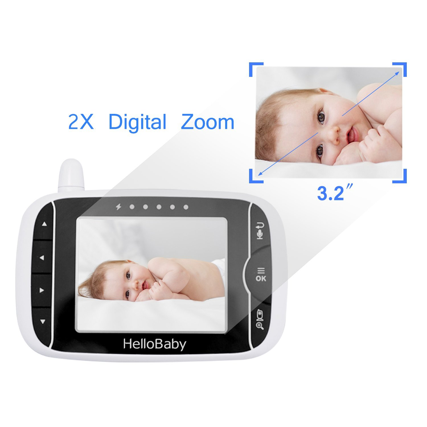 Video Baby Monitor with Camera and Audio Keep Babies Safe with Night Vision Talk Back Room Temperature 960ft Range and Long Battery Life HB32 White Noise Lullabies