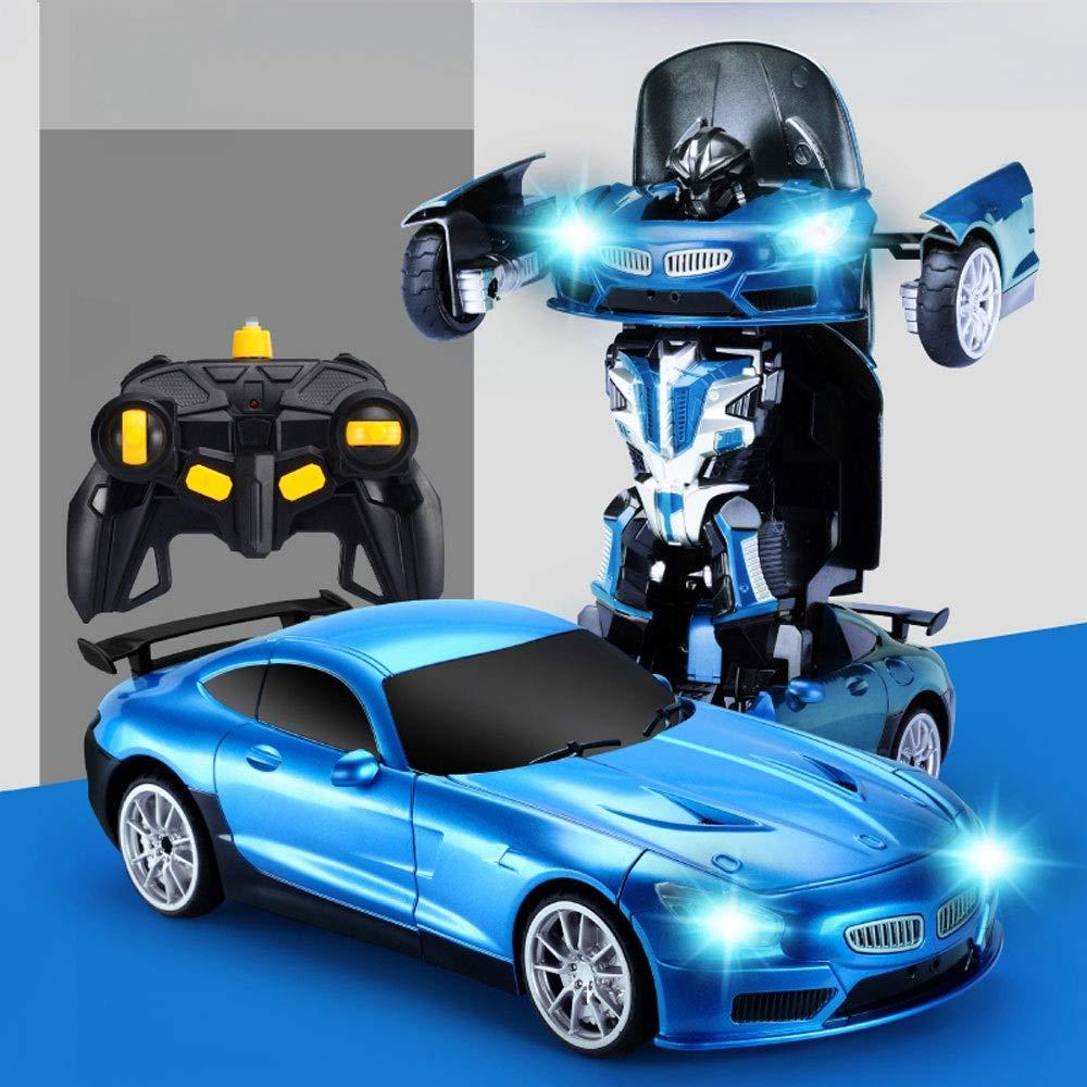 GLBS Fernbedienung Auto Spielzeug Rc Auto Wiederaufladbare Vier Rad Stunt Auto 3D Verformung Racing Fahrzeug Safe & Durable 2,4 GHz High Speed Rennwagen Funksteuerung Spielzeug Für Kinder A2-Blau 1 battery