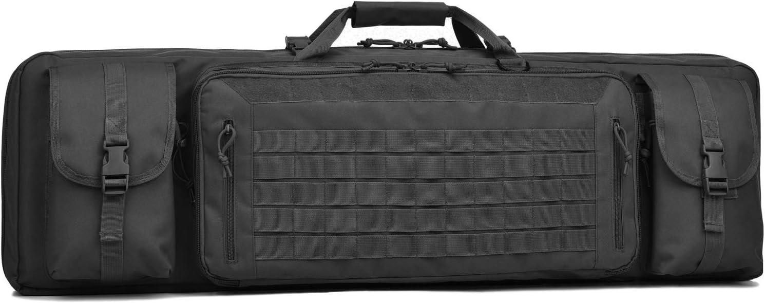 "BOW-TAC Double Long Rifle Gun Case Bag Tactical Rifle Backpack Pistol Soft Firearm Transportation Carbine Case - Lockable Compartment 36"",42"",46"""