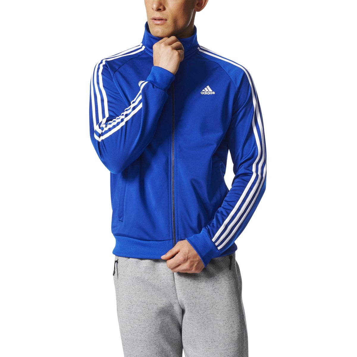 adidas Essentials 3S Tricot Track Jacket Men's All Sports S Collegiate Royal-White