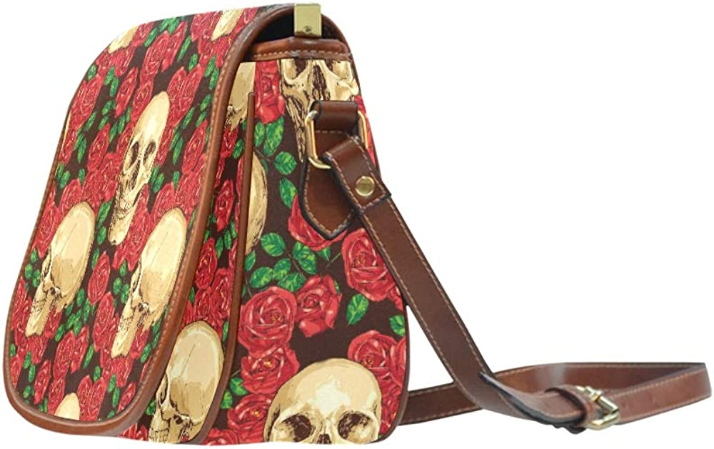 Seamless Gothic With Color Hand Drawn Skul Saddle Purse Bags Flap With Magnetic Snap Printed Fashion Shoulder Bag Fashion Crossbody Bag