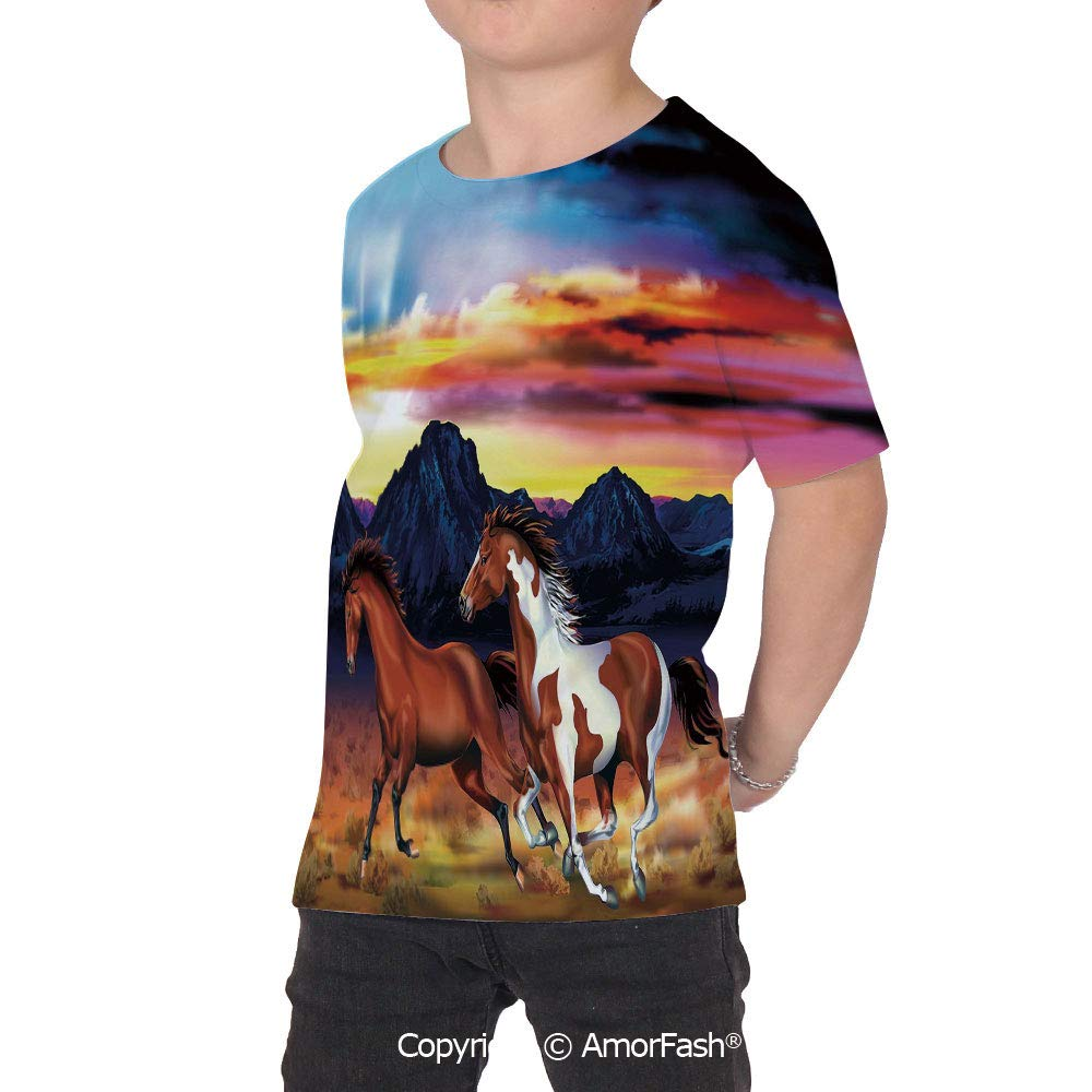 PUTIEN Western Decor Childrens Short Sleeve Cool T-Shirt,Polyester,Running Wild Horses