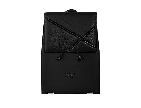 Mochila de Piel Negra Compartimento para Ordenador Portátil 13,3 Mochila de Mujer para Trabajo