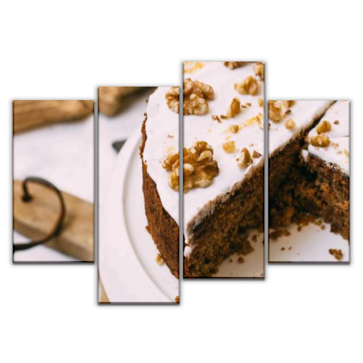 Sudoiseau 4 Panels Canvas Wall Art, Carrot Cake with Cream Cheese Icing and Walnut Vegan and Gluten Free Painting Pictures Print On Canvas Ready to Hang for Home Decoration by Sudoiseau
