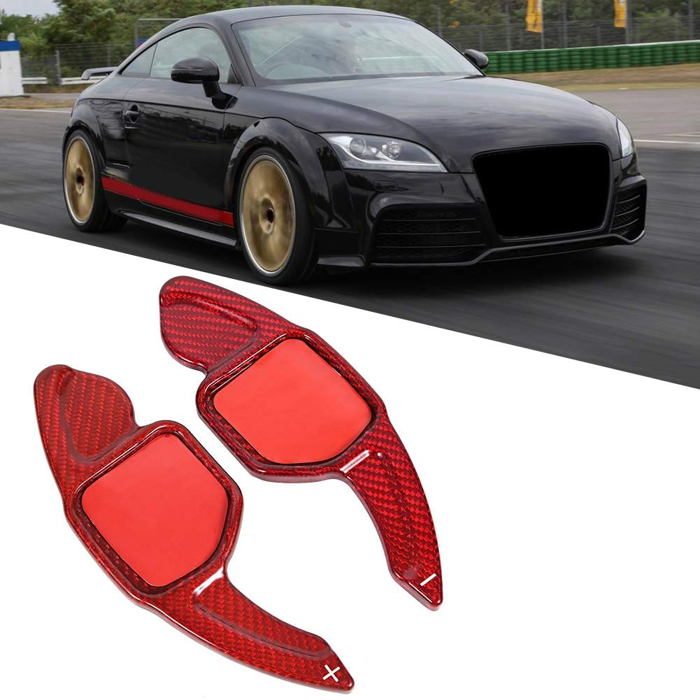 KIMISS Paddle Shifter Carbon Fiber Car Steering Wheel Shift Blade Paddle Shifting Extension for A udi A3-A7 Q5-Q7 RS3 RS6 R8 TT TTS