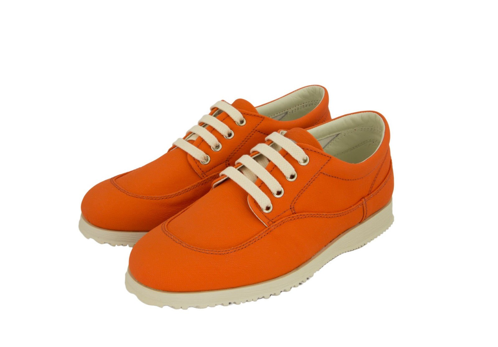 Hogan by TOD'S Fondo Traditional Orange Coated Canvas Oxfords Shoes US 7/37