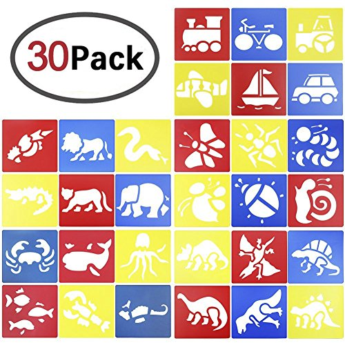 Homder 30Pcs Plastic Animals Painting Template Dinosaur Drawing Stencil Templates for Kids Crafts,Washable Template for School Projects(5 Different (Stencil Type)