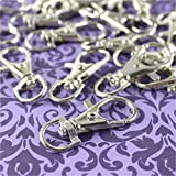 500 Pack - CleverDelights 1.5'' Swivel Lobster Clasps - Silver Color - For Lanyards, Keys, and Jewelry - Bulk