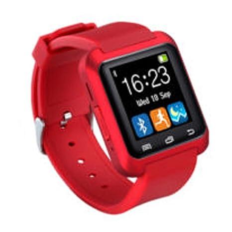 JINM U80 - Reloj Inteligente Bluetooth para Deportes y Salud, Anti-pérdida, para Smartphones, iOS y Android, Apple, Rojo, Tamaño Libre: Amazon.es: Hogar