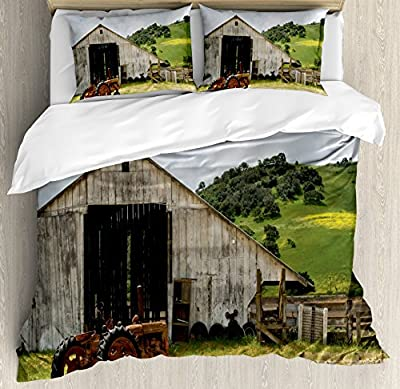Ambesonne Rustic Duvet Cover Set Queen Size, Old Wooden Barn with Rusted Tractor Hillside Enclosed with Wooden Fence and Trees, Decorative 3 Piece Bedding Set with 2 Pillow Shams, Green White