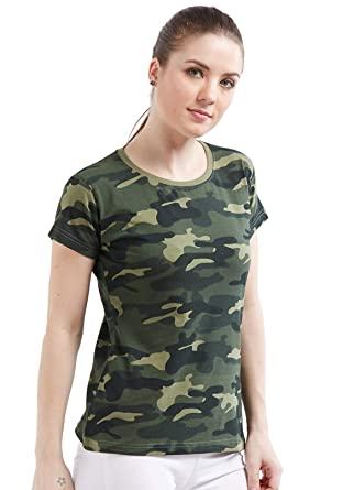76159b19 Wear Your Opinion Women's Cotton Camouflage Army Military Print Half Sleeve  T-Shirt Top: Amazon.in: Clothing & Accessories