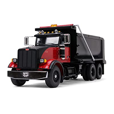 First Gear 1/50 Scale Diecast Collectible Black/Red Peterbilt Model 367 Dump Truck (50-3407): Toys & Games