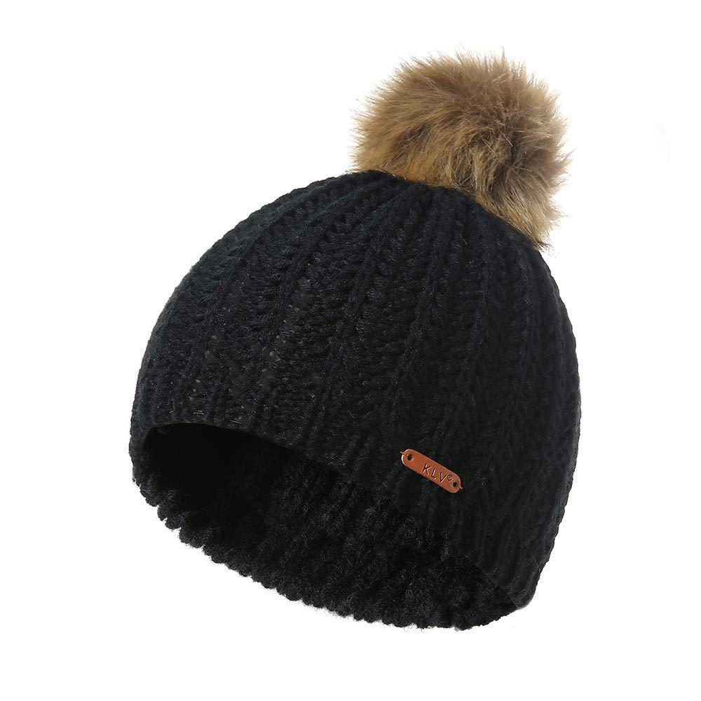 Challyhope Kids Slouchy Winter Knit Beanie Hats Faux Fur Pom Pom Hat Bobble Hat Ski Caps(Black, Free)