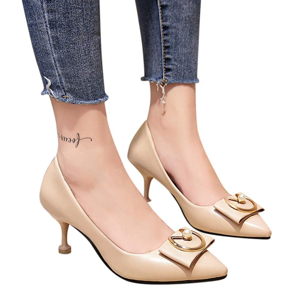 Fainosmny Fashion Pumps Middle Heels with Single Shoes Pointed Head Thin Heels Women Shoes Beige