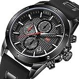 Stylish Men Sport Quartz Wrist Watch Black Waterproof Chronograph Watch with Date Display