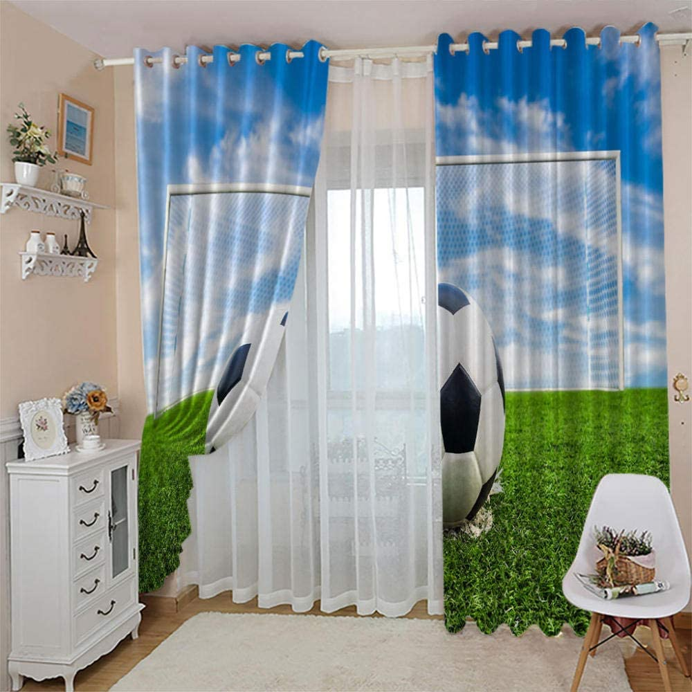 LIGAHUI Blackout Curtains Grass football 2x W46x L72 inch Eyelet Thermal Insulated Bedroom Curtain Ring Top Solid Kids Treatments Curtains Living Room for Nursery 2 Panels
