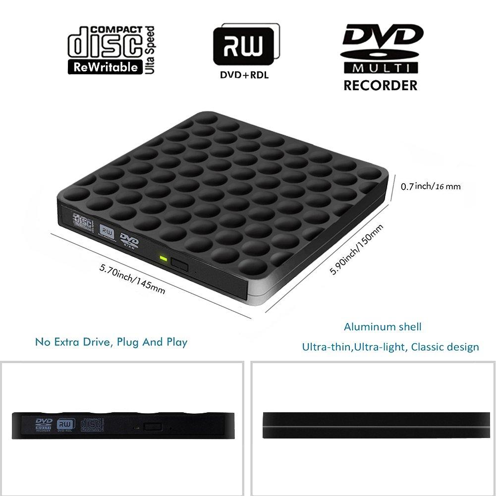 Grabadora CD DVD Externa Lector, USB 3.0 Portátil de DVD óptica RW ROW Reader Writer Player para PC Windows de Mac OS 10 7 8 XP Vista