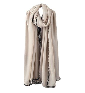 Leisial Rétro Etoles Anti UV Respirant Transpiration Humidité et Sueur  Écharpe de Coton lin Foulard pour 12ff47ac02b
