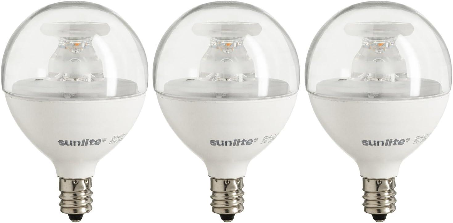 Sunlite G16.5/LED/5W/D/E12/CL/ES/27K/3PK Dimmable Energy Star 2700K Candelabra Base Warm White LED Globe G16.5 5W Light Bulb (3 Pack), Clear