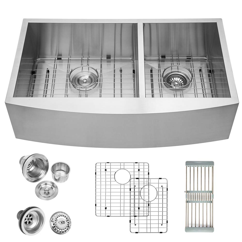 Logmey Double Bowl 33 inch Farmhouse Apron 60 40 Deep 18 Gauge Stainless Steel Kitchen Sink