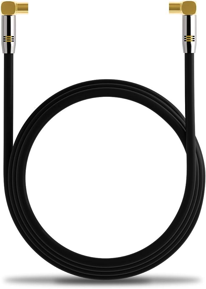 deleyCON 7,5m TV Cable de Antena HDTV Full HD 2X en Ángulo Cable Coaxial - Enchufe de TV (90° Grados) para Toma de TV (90° Grados) Tapón de Metal - ...