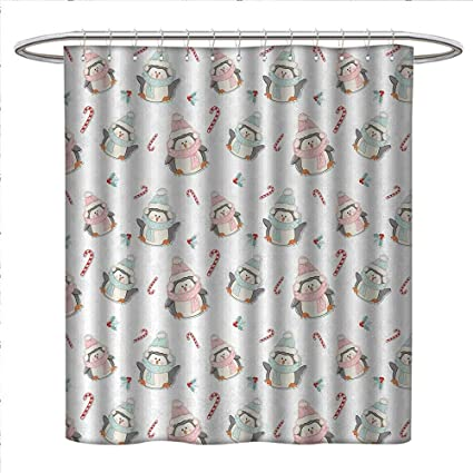 Anniutwo Candy Cane Shower Curtains Waterproof Cute Christmas Boy And Girl Penguins With Scarf Hats Traditional