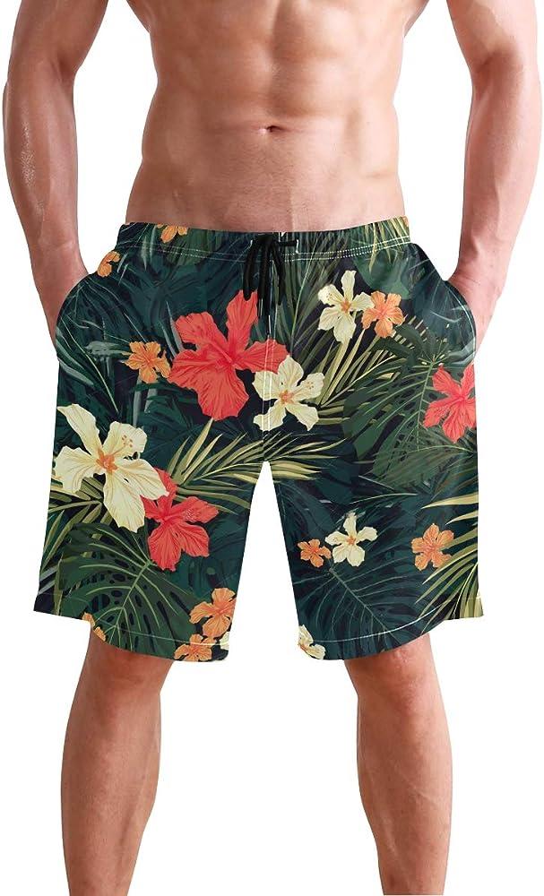 Hawaiian Short Casual Summer floral Palm Tree Short Pants Hawaii Beachwear
