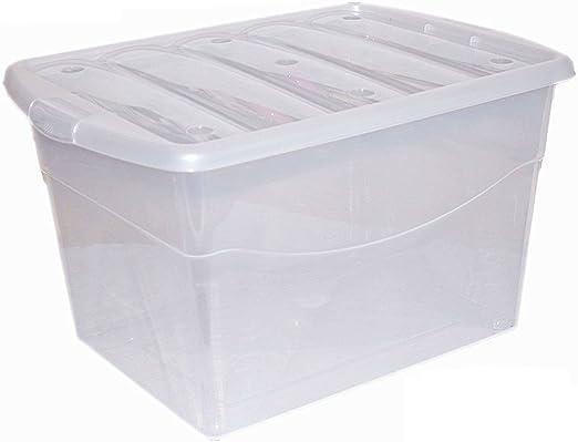 2 x grande, 100 litros Heavy Duty Claro caja de almacenamiento de plástico apilables Cajas contenedor con tapa con clip de cierre: Amazon.es: Hogar