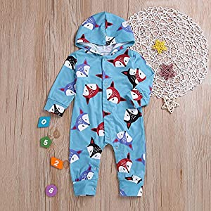 Baby Outfits for Boys Coming Home,Newborn Baby Boys Long Sleeves Hooded Fox Print Romper Jumpsuit Kid Clothes,Cartoon Characters,Blue,70