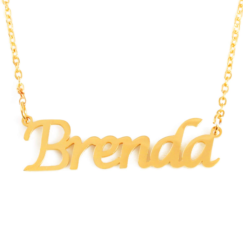 e2aad5ccd4697 Amazon.com: Zacria Brenda Custom Name Necklace Personalized - 18ct ...