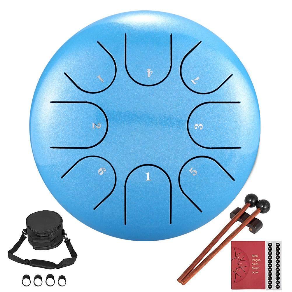 Finelyty Tambor con leng/üeta de Acero Instrumento de Acero y Titanio con mazos para la meditaci/ón Personal.