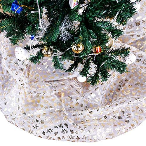 Bermino DIY Organza Fabric Tree Skirt Decorative Sheer Tablecloth for Birthday Party Wedding Festival Wedding Decorations, Gold Bell 57 x 118 ()