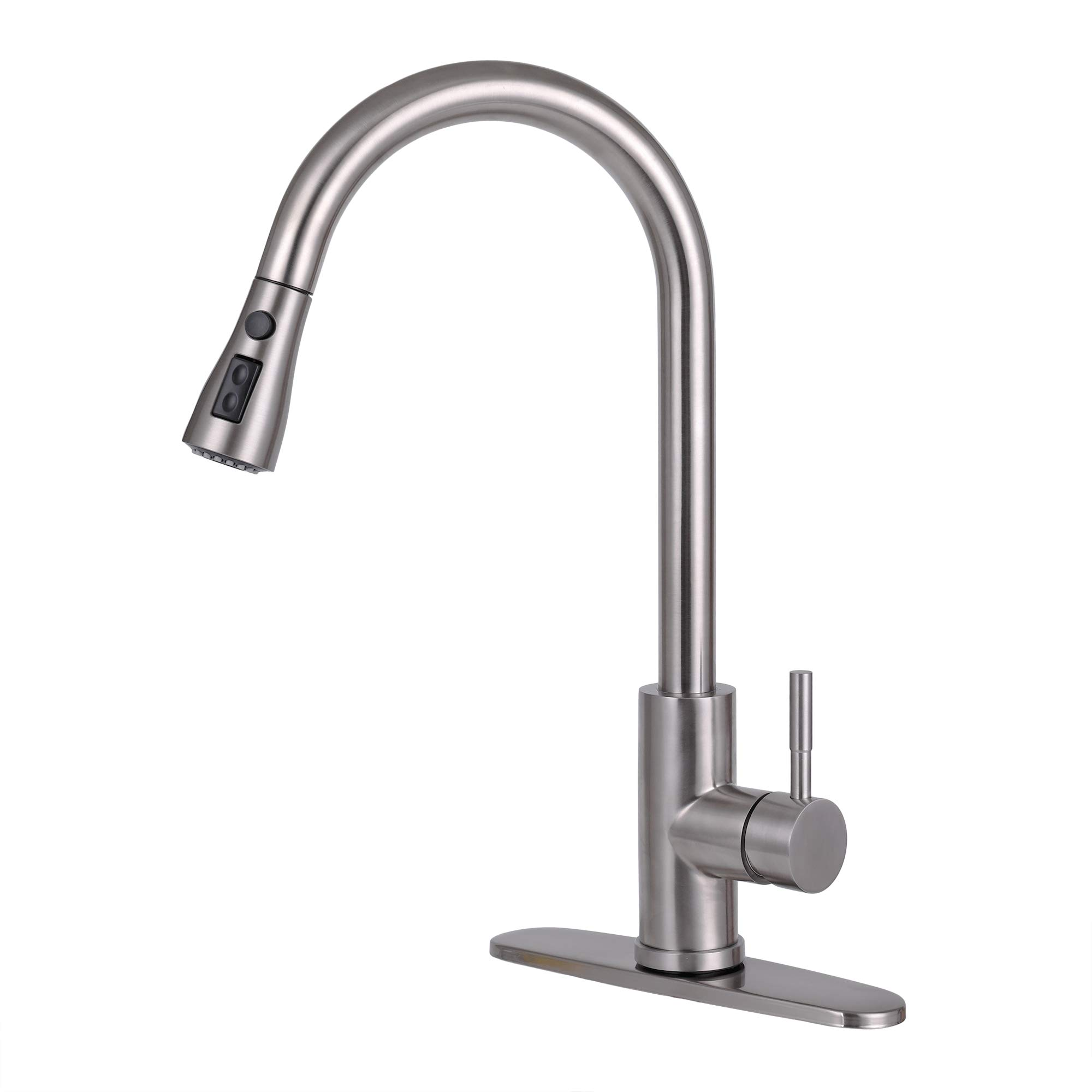 Kitchen Faucets With Pull Down Sprayer, Permande 360 Degree Commercial Single Handle Brushed Nickel Kitchen Faucet, Single Level High Arch Pull Out Stainless Steel Kitchen Sink Faucets with Deck Plate
