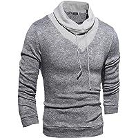 PLLP Abrigo de otoño e invierno Suéter-Sudadera Cuello alto para hombres Color sólido Estilo delgado Ropa para hombres Manga larga para hombres en la ropa,S