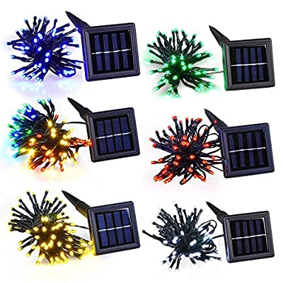 Yescom LEDs Solar Powered String Light Flash Static Lighting Modes Waterproof Colorful Outdoor Garde