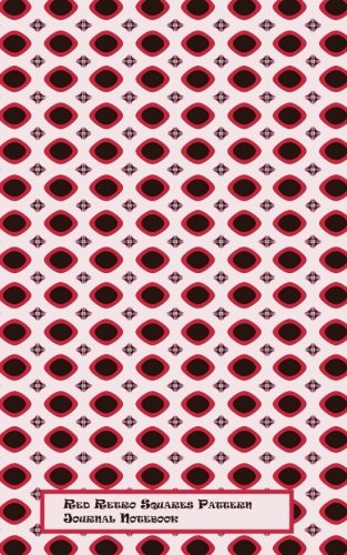 Red Retro Squares Journal Notebook: Red Retro Squares Pattern, 5 X 8, 110 black lined pages, paperback, -