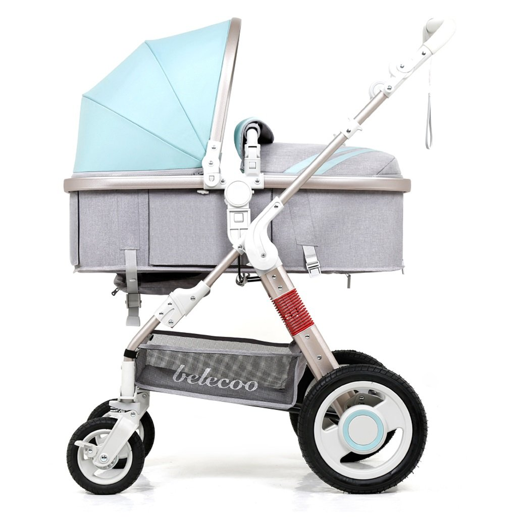 赤ちゃんのベビーカーはリクライニング折りたたみ軽量ポータブル高風景ショックベビートロリー(緑)59 * 84 * 111センチメートル B07BTWT553